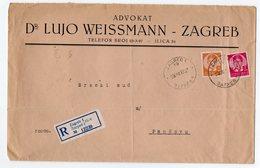 1939 YUGOSLAVIA, CROATIA, ZAGREB TO PANCEVO, SERBIA, COMPANY'S HEAD COVER, POSTER STAMP, RECORDED MAIL - 1931-1941 Kingdom Of Yugoslavia