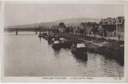 CONFLANS-FIN-D'OISE - LE QUAI DE FIN D'OISE - BELLE ANIMATION DE PENICHES - VERS 1900 - Conflans Saint Honorine