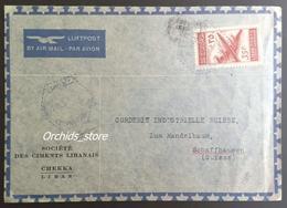 Lebanon 1953 Cover Sent To Switzerland With Very Rare Cancel, CHEKKA-USINE, Hexagonal Blue Type - Lebanon