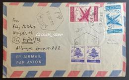 Lebanon 1954 Cover Sent To Germany With Very Rare Cancel, ABLAH, Hexagonal Type, Via Zahle - Liban