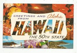 Cp, Etats Unis,  GREETINGS AND OLOHA FROM HAWAII ,the 50 Th State, écrite 1971,multi Vues - Etats-Unis