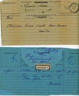 LOT DE 2 TELEGRAMMES A ETUDIER DONT UN AVEC ETIQUETTE POSTALE A DECHIRER - Marcophilie (Lettres)