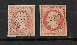 France Timbres De 1853 Napoléon III N°16 ( 2 Exemplaires) Belles Oblitérations - 1853-1860 Napoléon III