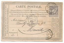 SAGE 15C GRIS CARTE PRECUREUR REPIQUAGE HENRI TEISSIER PHILIPPEVILLE ALGERIE 1876 POUR MARSEILLE - Marcophilie (Lettres)