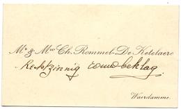 Visitekaartje - Carte Visite - Mr & Mme Ch. Rommel - De Ketelaere - Waardamme - Cartes De Visite