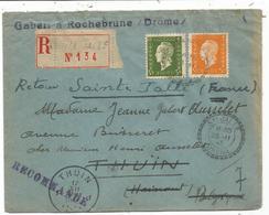 DULAC 5FR+3FR LETTRE REC FACTEUR BOITIER STE JALLE 23.11.1945 DROME POUR BELGIQUE + VIGNETTE AU DOS - Marcophilie (Lettres)