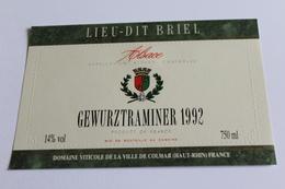 Etiquette De Vin Neuve Jamais Servie GEWURZTRAMINER  1992 Lieu Dit Briel - Gewurztraminer