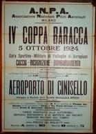 ECCEZIONALE-AERONAUTICA_MANIFESTO ORIGINALE IV COPPA BARACCA_5/10/1924_CINISELLO AEROPORTO BREDA (A3/5/36) - Affiches
