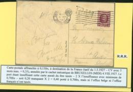 BELGIQUE COB 139 SUR CP GRIFFE TRAM AFFR 15c LA CARTE AURAIT DU ETRE TAXE (DD) DC-3618 - 1922-1927 Houyoux