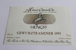 Etiquette De Vin Neuve Jamais Servie GEWURZTRAMINER    1991 HENGST Paul Buecher  Wettolsheim - Gewurztraminer