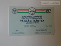 D164498  FIA - Hungarian Automobile Club - Magyar Autóklub  -  Membership Card - 1994 - Organizations