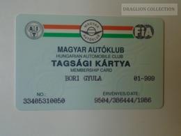 D164499  FIA -  Hungarian Automobile Club - Magyar Autóklub  -  Membership Card - 1995 - Organizations