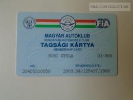 D164500  FIA -  Hungarian Automobile Club - Magyar Autóklub  -  Membership Card - 2003 - Organizations