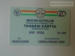 D164501  FIA -  Hungarian Automobile Club - Magyar Autóklub  -  Membership Card - 1998 - Organizations
