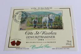 Etiquette De Vin Neuve Jamais Servie GEWURZTRAMINER   1994 COTE ST NICOLAS - Gewurztraminer