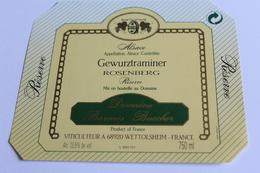 Etiquette De Vin Neuve Jamais Servie GEWURZTRAMINER   ROSENBERG Domaine Barmes Buecher  WETTOLSHEIM - Gewurztraminer