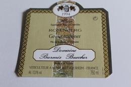 Etiquette De Vin Neuve Jamais Servie GEWURZTRAMINER   ROSENBERG  1994 Domaine Barmes Buecher  WETTOLSHEIM - Gewurztraminer