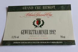 Etiquette De Vin Neuve Jamais Servie GEWURZTRAMINER   1992 ALSACE GRAND CRU Domaine De La Ville De Colmar - Gewurztraminer