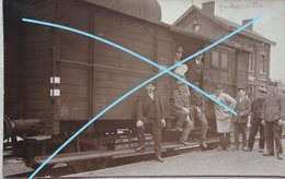Photo GODARVILLE Trazegnies Manage GARE Personnel FerroviaireCirca 1930 Station Train Trein SNCB Hainaut - Trains