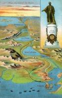 EGYPT - Plan Du Canal De Suez With Lesseps Statue Etc - Egypt