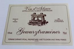 Etiquette De Vin Neuve Jamais Servie GEWURZTRAMINER    Fernand EHRHART PFOHL A WETTOLSHEIM - Gewurztraminer