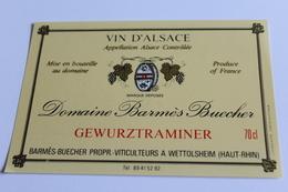 Etiquette De Vin Neuve Jamais Servie GEWURZTRAMINER  DOMAINE BARMES BUECHER      A  WETTOLSHEIM - Gewurztraminer