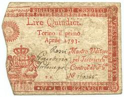 15 LIRE REGIE FINANZE TORINO REGNO DI SARDEGNA 01/04/1793 BB- - Altri