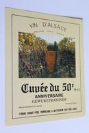 Etiquette De Vin Neuve Jamais Servie GEWURZTRAMINER  Cuvee Du 50e Anniversaire  Fernand Ehrhart  A Wettolsheim - Gewurztraminer