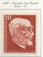 PIA - GERMANIA - 1957  : Anniversario Della Morte Del Filosofo LeoBaeck  -   (Yv 152) - Nuovi