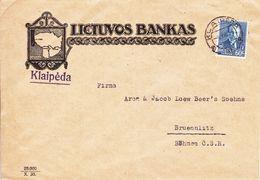 Lituanie - Lettre De 1936 - Oblit Klaipeda - Exp Vers Bruenlitz - Banque - - Litauen