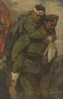Croix Rouge Allemande Guerre 1914. Signée 1914 . Soldat Blessé. German Red Cross WWI - Croix-Rouge