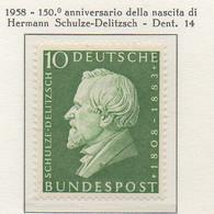 PIA - GERMANIA - 1958  :  150° Anniversario Della Nascita Di Hermann  Schulze-Delitzsch --   (Yv 167) - Nuovi