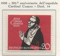 PIA - GERMANIA - 1958  : 500° Anniversario Dell' Ospedale Cardinal Cusano-   (Yv 172) - Nuovi