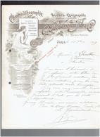 FACTURE 1899 GRAVURE TYPOGRAPHIE IMPRESSION BOUISSEREN FILS 55 RUE DE LA VERRERIE A PARIS CALENDRIER AFFICHE CHROMO - Printing & Stationeries