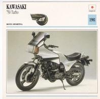 MOTO DSPORTIVA KAWASAKI 750 TURBO GIAPPONE 1981 DESCRIZIONE COMPLETA SUL RETRO AUTENTICA 100% - Advertising