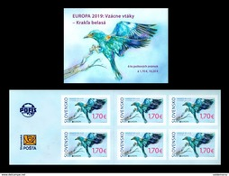 Slovaquie 2019 EUROPA  Le Carnet De 6 Timbres ND Oiseau Le Rollier D'Europe Coracias Garrulus - Slowakije