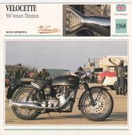 MOTO SPORTIVA VELOCETTE 500 VENOM THRUXTON GRAN BRETAGNA 1968 DESCRIZIONE COMPLETA SUL RETRO AUTENTICA 100% - Advertising