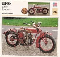 MOTO DA TURISMO INDIAN 1000 CC POWERPLUS STATI UNITI  1919 DESCRIZIONE COMPLETA SUL RETRO AUTENTICA 100% - Advertising