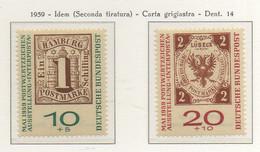 """PIA - GERMANIA - 1959 - Esposizione Filatelica Internazionale """"INTERPOSTA 1959""""   - (Yv 183-84) - Nuovi"""