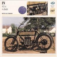 MOTO DA TURISMO FN 412 CC 4 CILINDRI ALTRI PAESI BELGIO 1907 DESCRIZIONE COMPLETA SUL RETRO AUTENTICA 100% - Advertising