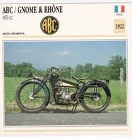 MOTO SPORTIVA ABC GNOME & RHONE 400 CC FRANCIA 1922 DESCRIZIONE COMPLETA SUL RETRO AUTENTICA 100% - Advertising