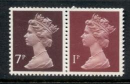 GB 1978 Machin 1p Crimson CB, 7p Chocolate CB MUH - 1952-.... (Elizabeth II)