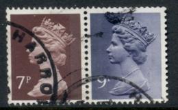 GB 1978 Machin 7p Chocolate RB, 9p Bluish Violet 2B FU - 1952-.... (Elizabeth II)