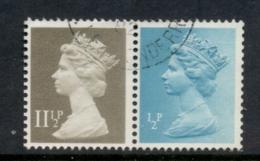 GB 1981 Machin 0.5p Turquoise Blue 2B, 11.5p Drab BR FU - 1952-.... (Elizabeth II)