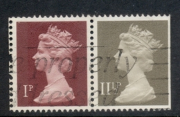 GB 1981 Machin 1p Crimson 2B, 11.5p Drab BL FU - 1952-.... (Elizabeth II)