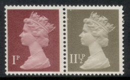GB 1981 Machin 1p Crimson 2B, 11.5p Drab BL MUH - 1952-.... (Elizabeth II)