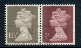 GB 1981 Machin 1p Crimson 2B, 11.5p Drab BR FU - 1952-.... (Elizabeth II)