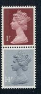 GB 1981 Machin 1p Crimson 2B, 14p Grey Blue 2B MUH - 1952-.... (Elizabeth II)