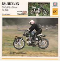 FUORISTRADA BSA RICKMAN 500 GOLD STAR METISSE VIC ALLAN GRAN BRETAGNA 1957 DESCRIZIONE COMPLETA SUL RETRO AUTENTICA 100% - Advertising