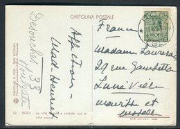 Italie - Affranchissement De Rodi Sur Carte Postale Pour La France -  Réf J158 - Aegean (Rodi)